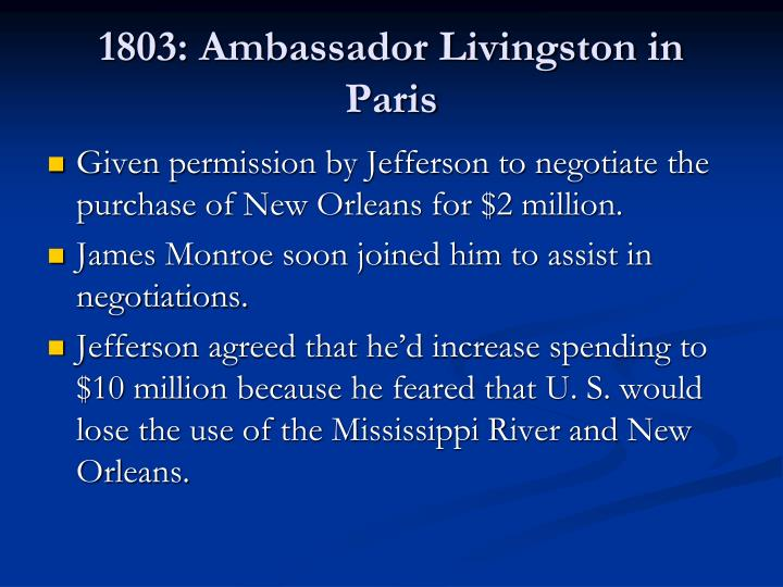 1803: Ambassador Livingston in Paris