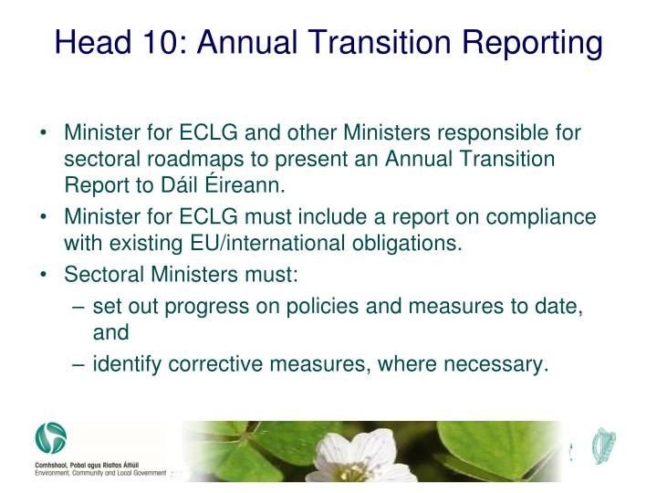 Head 10: Annual Transition Reporting