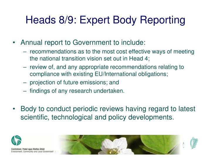 Heads 8/9: Expert Body Reporting