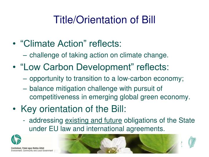 Title/Orientation of Bill