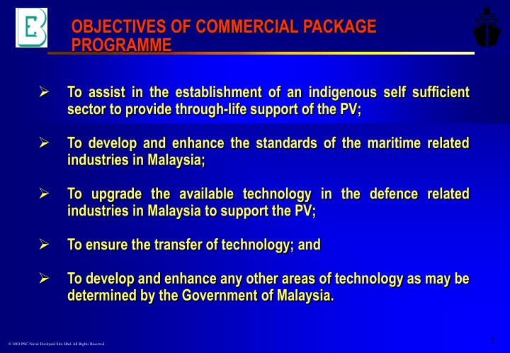 OBJECTIVES OF COMMERCIAL PACKAGE PROGRAMME