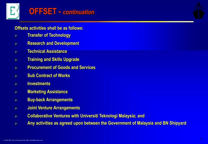 Offsets activities shall be as follows:
