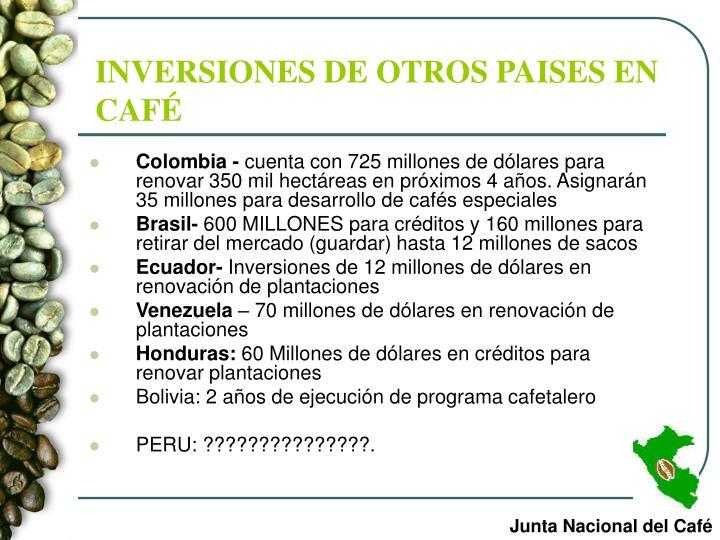 INVERSIONES DE OTROS PAISES EN CAFÉ