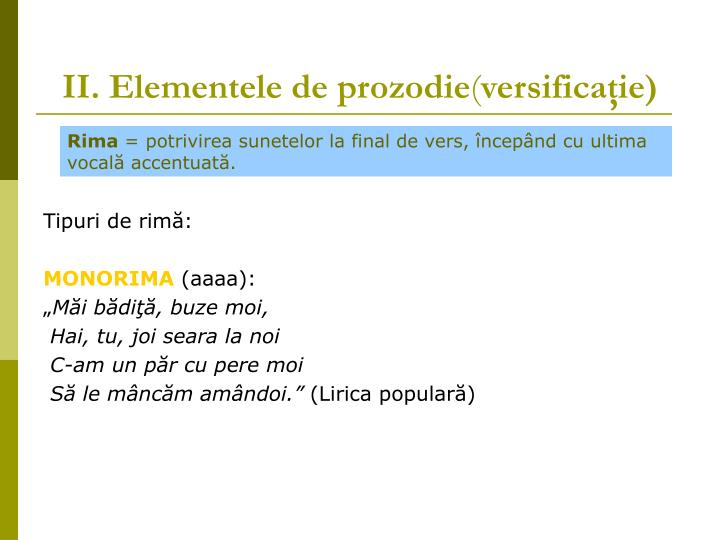 II. Elementele de prozodie