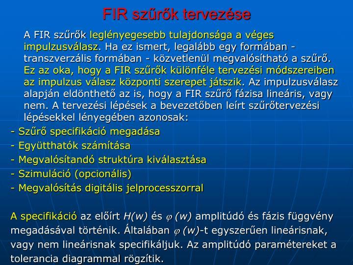 FIR szűrők tervezése