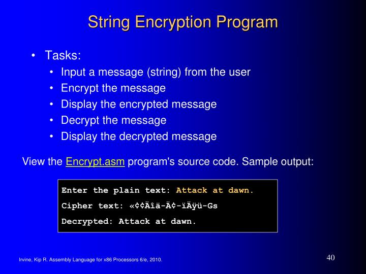 String Encryption Program