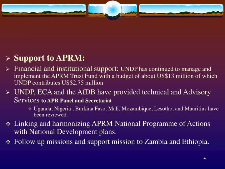 Support to APRM:
