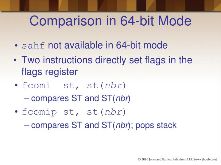 Comparison in 64-bit Mode