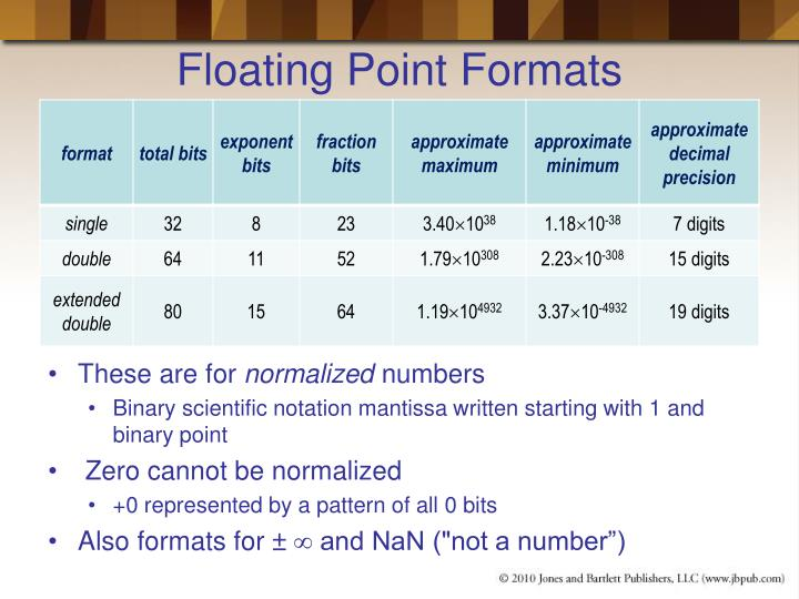 Floating Point Formats