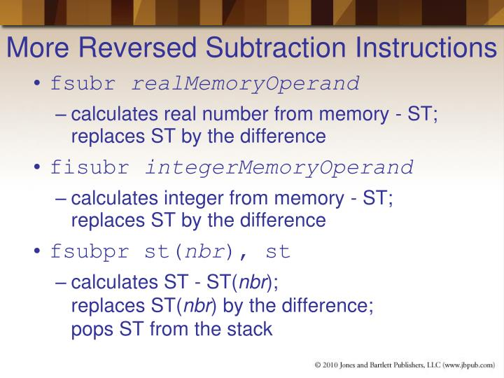 More Reversed Subtraction Instructions