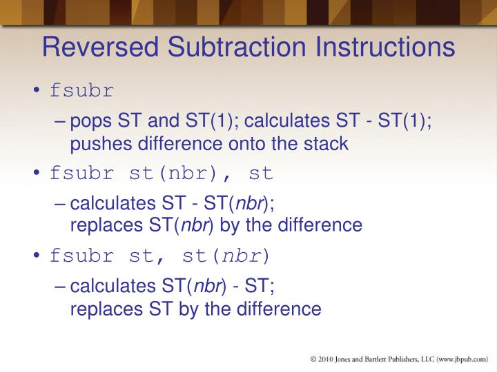 Reversed Subtraction Instructions