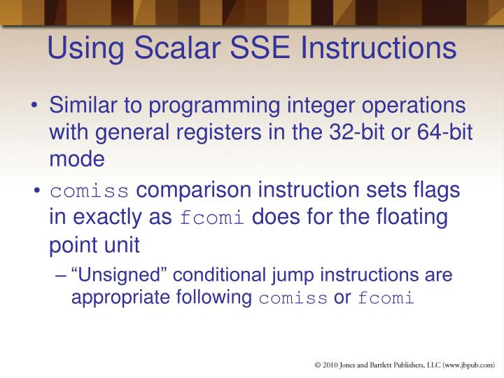 Using Scalar SSE Instructions