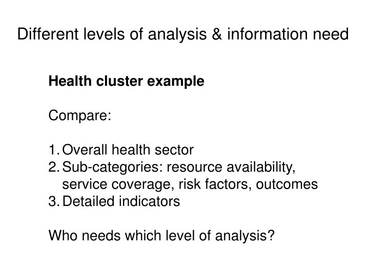 Different levels of analysis & information need