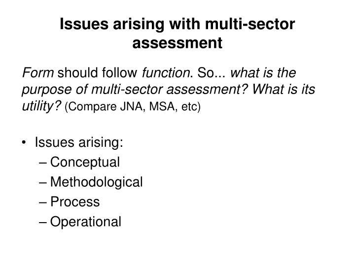 Issues arising with multi-sector assessment