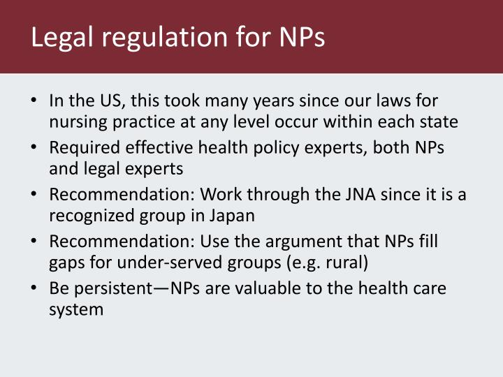 Legal regulation for NPs