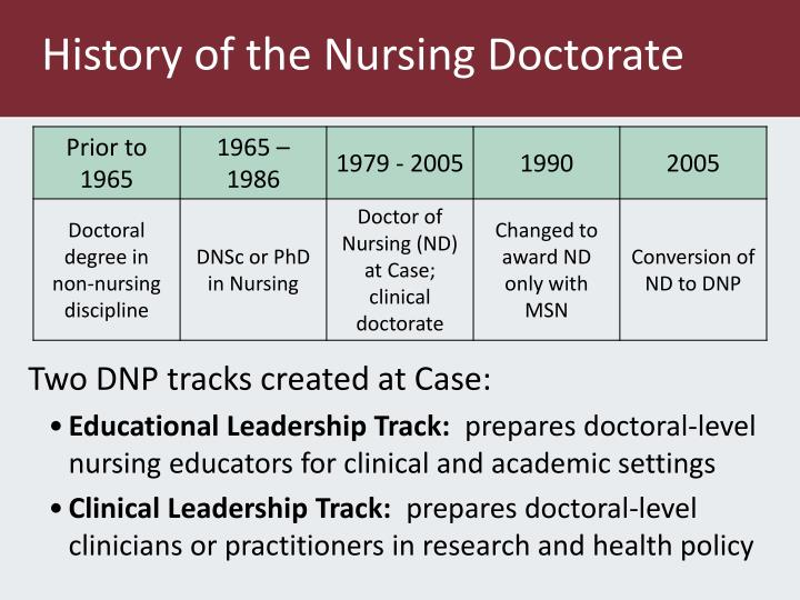 History of the Nursing Doctorate