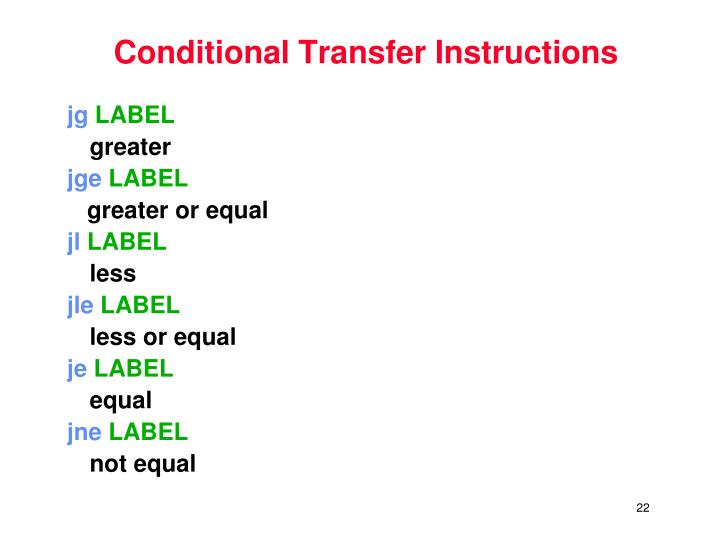 Conditional Transfer Instructions