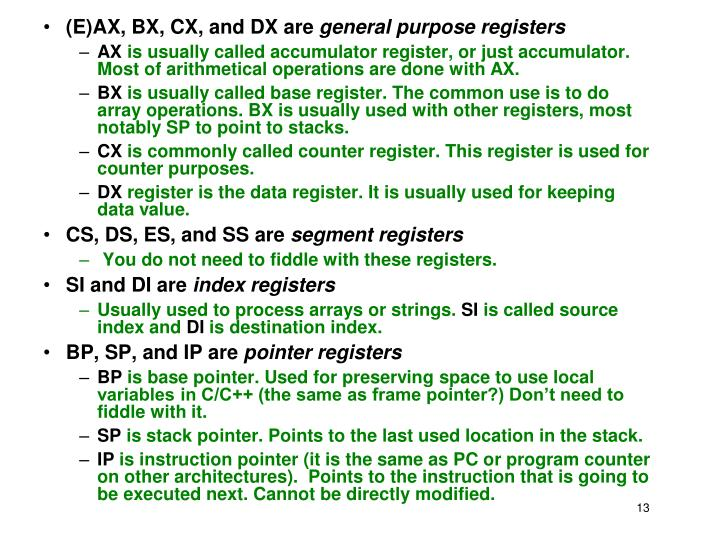 (E)AX, BX, CX, and DX are