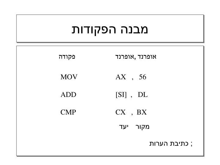 מבנה הפקודות