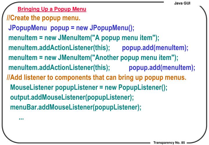 Bringing Up a Popup Menu