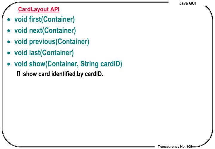 CardLayout API