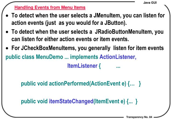 Handling Events from Menu Items