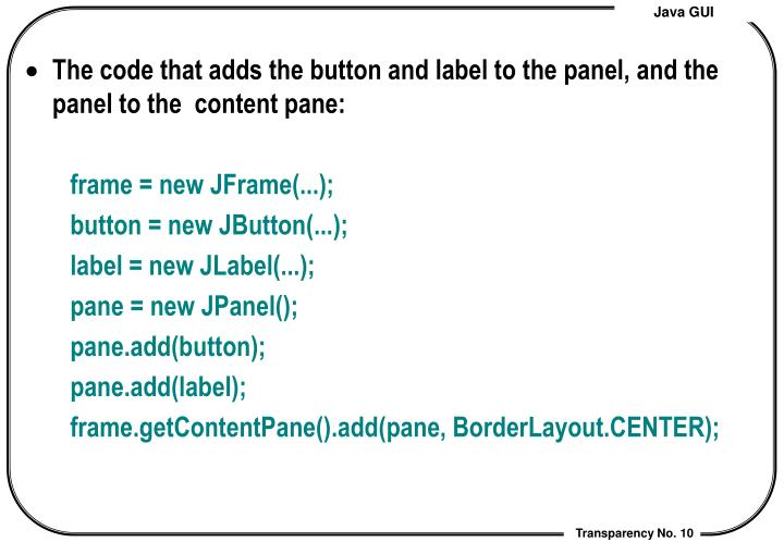 The code that adds the button and label to the panel, and the panel to the  content pane: