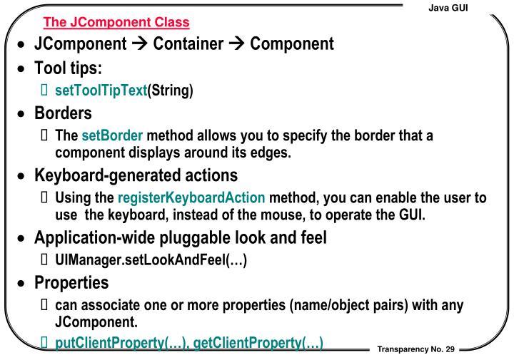 The JComponent Class