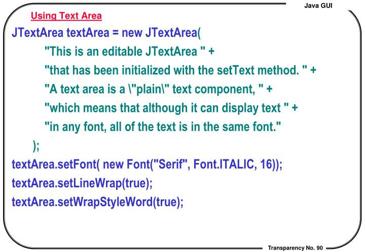 Using Text Area