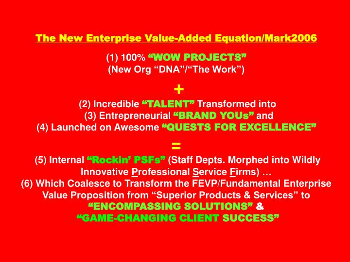 The New Enterprise Value-Added Equation/Mark2006