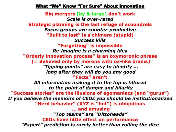 What We Know For Sure About Innovation