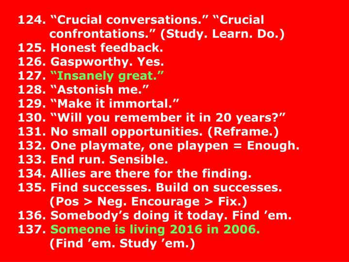 "124. ""Crucial conversations."" ""Crucial"