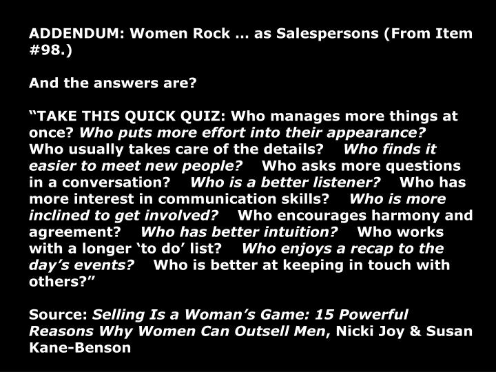ADDENDUM: Women Rock  as Salespersons (From Item #98.)