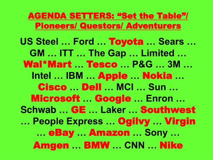 AGENDA SETTERS: Set the Table/ Pioneers/ Questors/ Adventurers