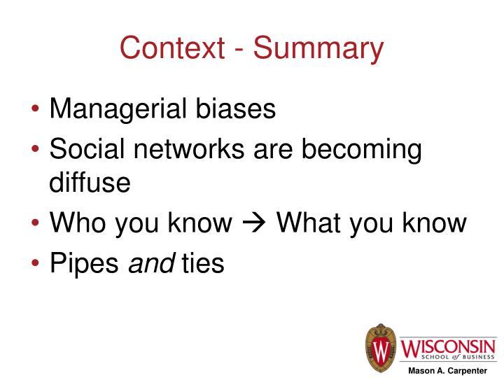 Context - Summary