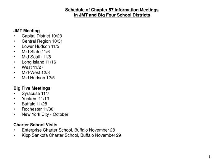 Schedule of Chapter 57 Information Meetings