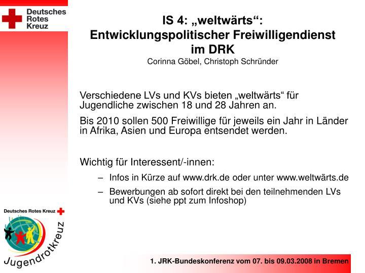 """IS 4: """"weltwärts"""":"""