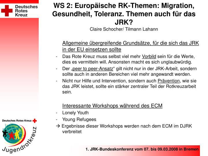 WS 2: Europäische RK-Themen: Migration, Gesundheit, Toleranz. Themen auch für das JRK?