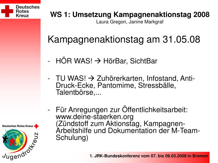 WS 1: Umsetzung Kampagnenaktionstag 2008