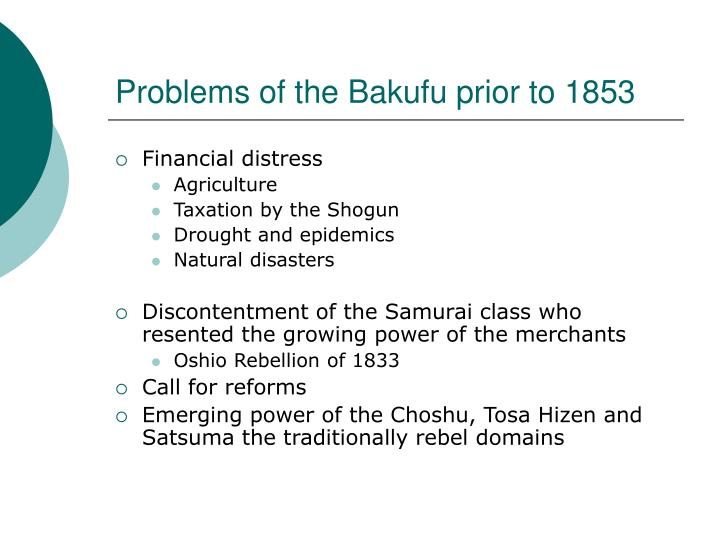 Problems of the Bakufu prior to 1853