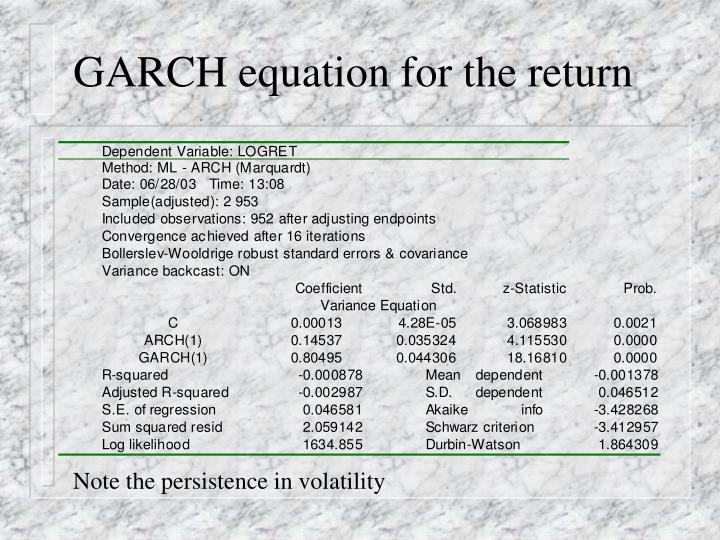 GARCH equation for the return