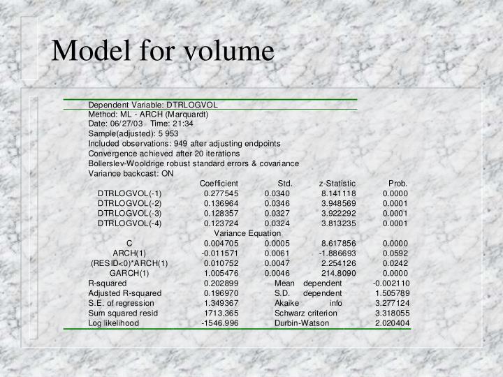 Model for volume