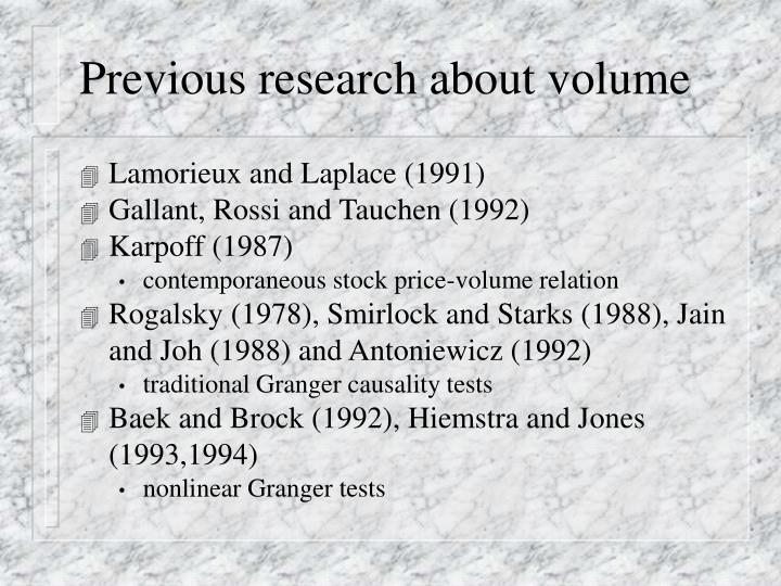 Previous research about volume