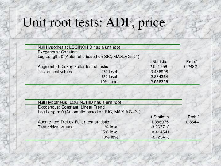 Unit root tests: ADF, price