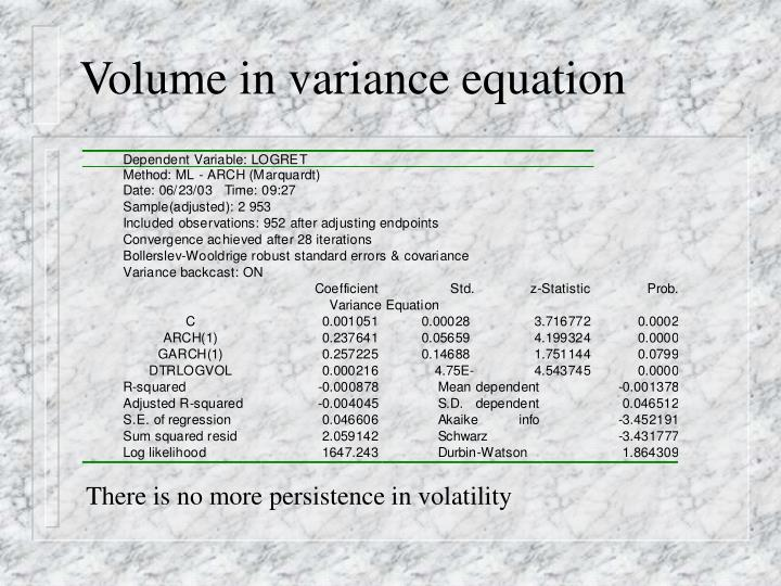 Volume in variance equation