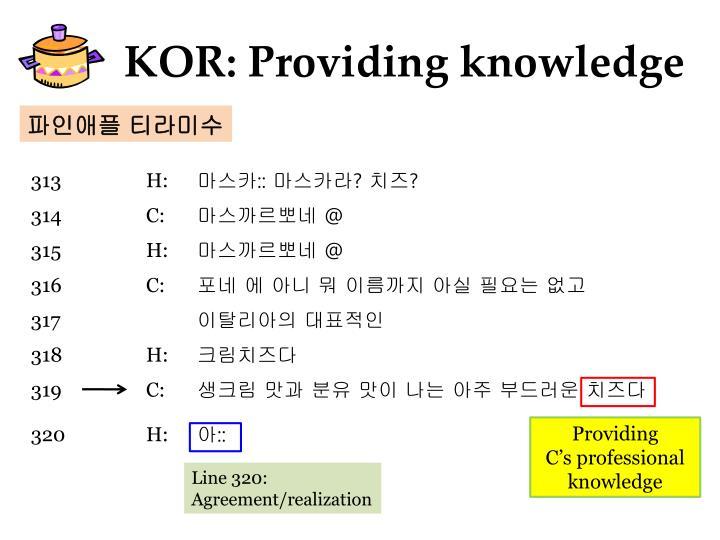 KOR: Providing knowledge