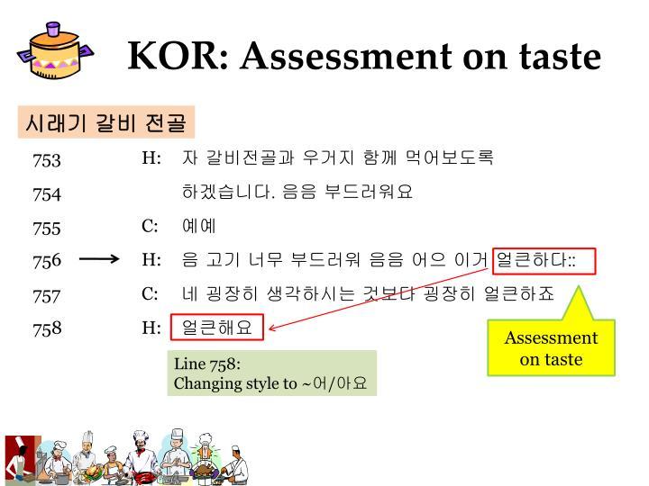 KOR: Assessment on taste