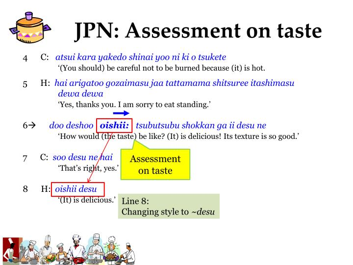 JPN: Assessment on taste