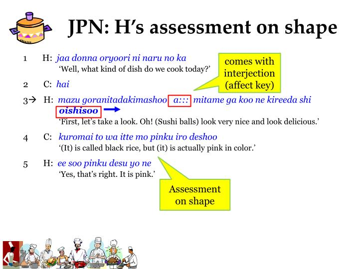 JPN: H's assessment on shape