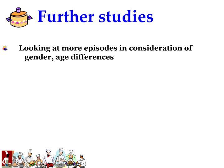 Further studies